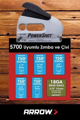 Arrow 5700 6-14mm Zımba/15mm Çivi Profesyonel Mekanik Zımba ve Çivi Tabancası + 1250 Adet Zımba - Thumbnail