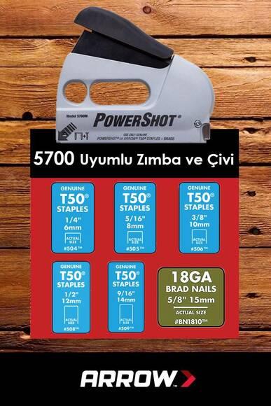 Arrow 5700 6-14mm Zımba/15mm Çivi Profesyonel Mekanik Zımba ve Çivi Tabancası + 1250 Adet Zımba