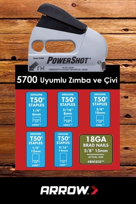 Arrow 5700 6-14mm Zımba-15mm Çivi Profesyonel Mekanik Zımba ve Çivi Tabancası + 1250 Adet Zımba - Thumbnail