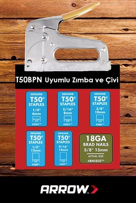 Arrow T50PBN 6-14mm Zımba/15mm Çivi Profesyonel Mekanik Zımba ve Çivi Tabancası + 1250 Adet Zımba - Thumbnail