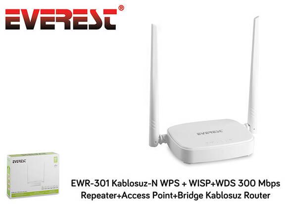 Everest EWR-301 Kablosuz-N WPS + WISP + WDS 300 mbps Repeater Access Point Bridge Kablosuz Router