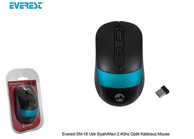 Everest Sm-18 Usb Siyah-Mavi 2.4 Ghx Optik Kablosuz Mouse - Thumbnail