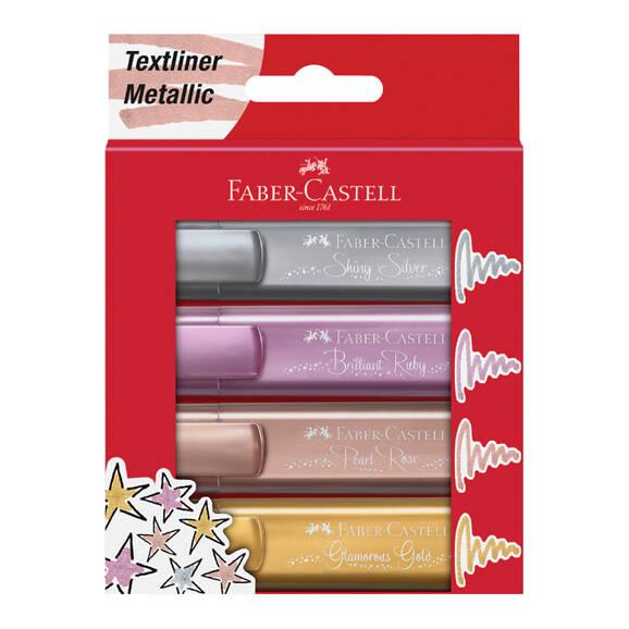 Faber Castell 154640 Fosforlu Kalem Seti Metalik 4' lü