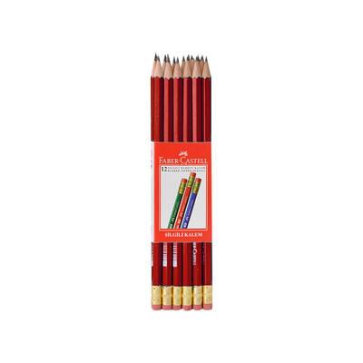 Faber Castell Kurşun Kalem Köşeli Silgili Kırmızı 12'li
