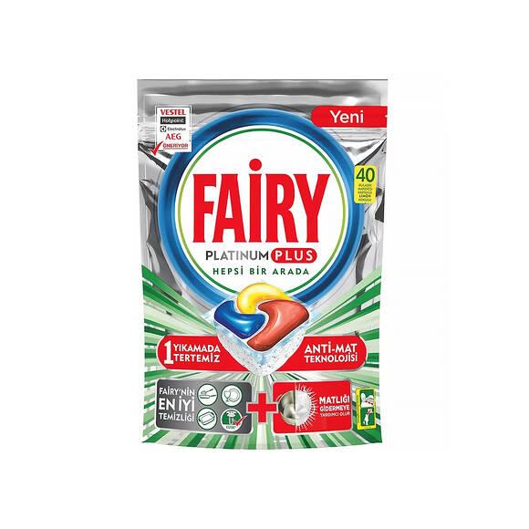 Fairy Platinum Plus Hepsi Bir Arada Bulaşık Makinesi Tableti Limon 40'lı