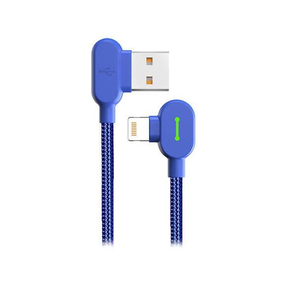 Mcdodo CA-4678 iPhone 90 Derece Çift Yönlü Ledli Örgü Kablo 1,8 m 2A Mavi