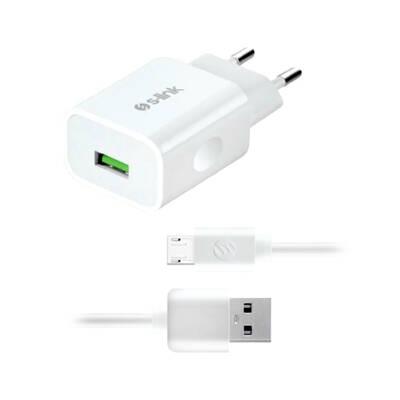S-Link AND-EC14B 1A Beyaz Ev Şarj Cihazı ve 1.3A Micro USB Data